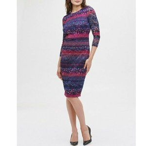 Kensie Dresses 3/4 Sleeve Ombre Floral Lace
